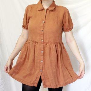 Zara Orange 100%Linen vintage-inspired day dress L